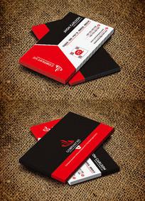 红色商务设计公司创意名片设计