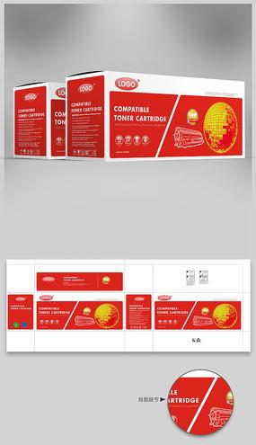 红色英文打印机硒鼓彩盒包装设计
