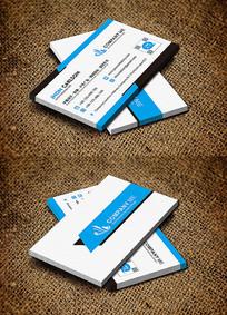 蓝色横版创意时尚商务名片