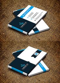 蓝色经典简约商务公司名片设计