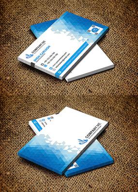 蓝色色块横版商务简约名片设计