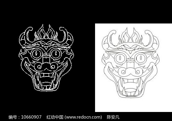 CAD龙头民间神话传说素材线稿图片