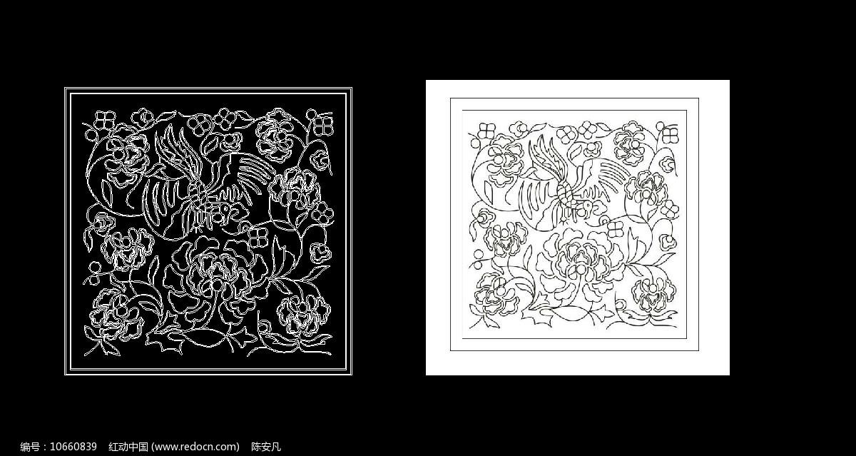百花成蜜 蜜蜂采蜜CAD线稿图图片