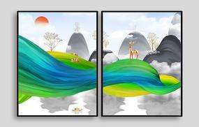 炫彩山水室内装饰画