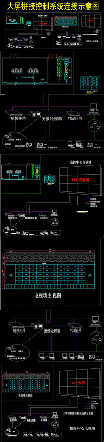 大屏拼接控制系统连接示意图 dwg