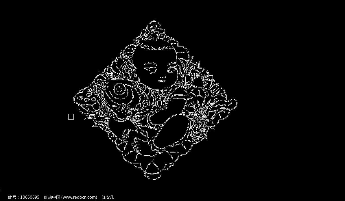福娃中国娃娃CAD线稿图片