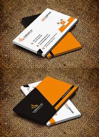活力橙色科技公司名片设计