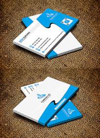蓝色创意曲线IT公司大气名片