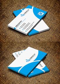 蓝色创意曲线商务风公司名片