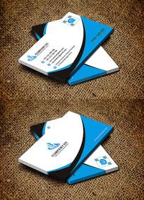 蓝色公司个性简约时尚名片设计