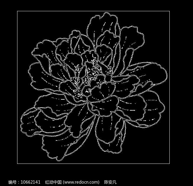 牡丹花富贵花CAD素材线稿图图片