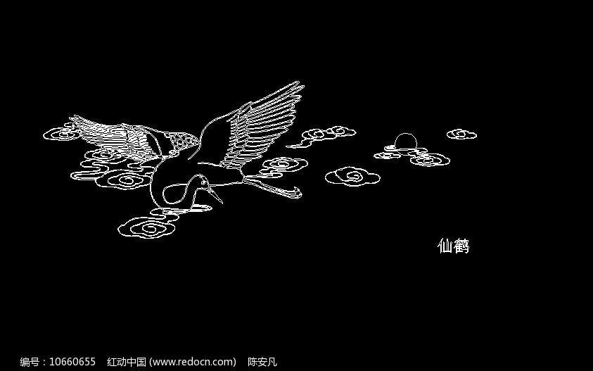 仙鹤线稿素材 传统民间文化贴图图片