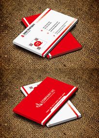红色渐变风时尚商务大气名片设计