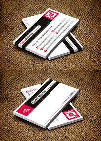 红色简约个性化商务名片设计