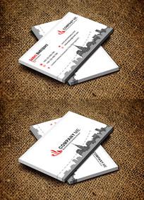 红色简约建筑行业房地产名片设计