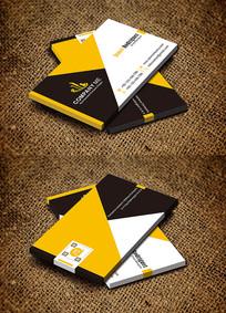 黄色创意商务简约时尚名片设计