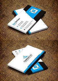 蓝色创意二维码个性化时尚名片设计
