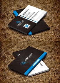 蓝色横版装饰器材房地产名片设计