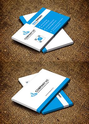 蓝色简约创意研发机构科研名片设计 CDR