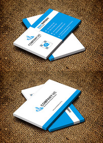 蓝色简约创意研发机构科研名片设计