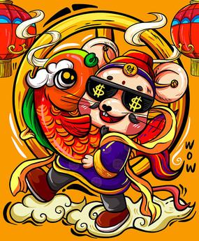 国潮插画新年抱鱼老鼠