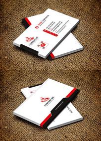 红色简约制造公司电子厂名片设计