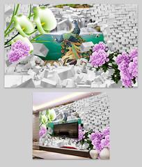 牡丹孔雀3D背景墙