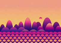 神秘山水紫色