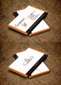 橙色圆角创意金融服务咨询公司名片
