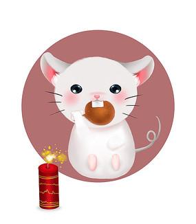 原创可爱卡通动物吃肉鼠