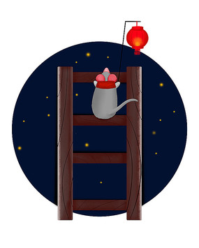 原创手绘可爱卡通新年生肖鼠上梯子挂灯笼