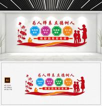 中国风四有好老师校园楼梯文化墙模板