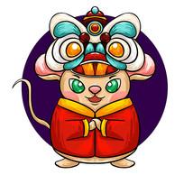 原创元素鼠年狮头拜年鼠