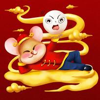 原创元素元宵节玩元宵鼠