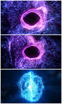 震撼唯美粒子汇聚logoAE视频模板