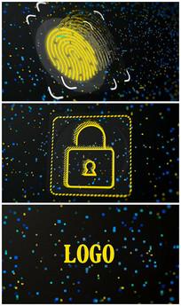 科技指纹解锁logo演绎AE视频模板