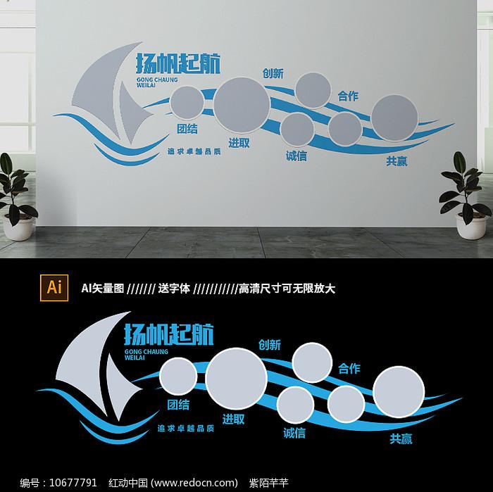 蓝色创意扬帆起航企业文化墙 图片