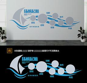 蓝色创意扬帆起航企业文化墙