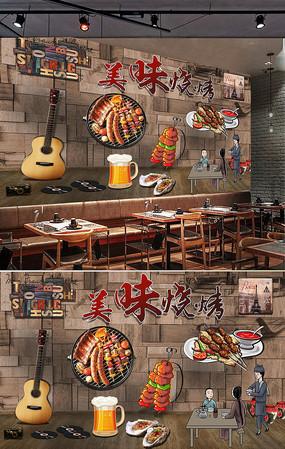 特色撸串烧烤背景墙