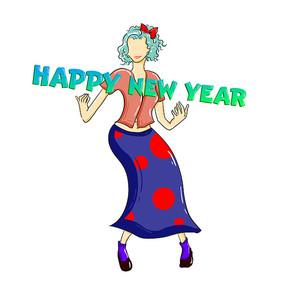 原创元素手绘女孩新年快乐元素