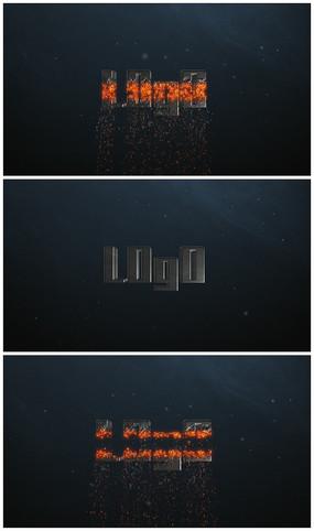 4k震撼金属火焰粒子分割logo片头视频模板