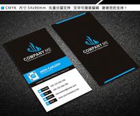 蓝色简约竖版科技商务名片设计