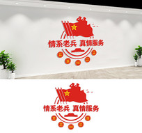 情系老兵真情服务退役军人文化墙设计