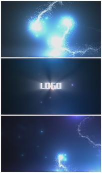 唯美蓝色粒子汇聚Logo演绎视频模板