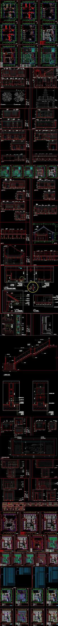 新中式饭店CAD施工图