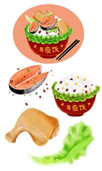 原创手绘新年年夜饭鸡腿鱼肉生菜素材