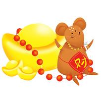 原创鼠年财运插画
