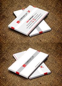 红色简约横版创意商务公司名片设计