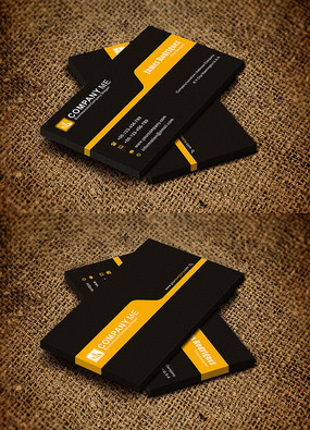黄黑大气商务科技公司创意名片设计
