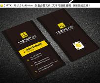 黄黑简约竖版创意商务时尚名片设计
